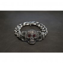 Silver Cross Skull with Red Flame Eyes Chain TB244