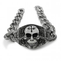 Silver Cross Skull Rolo Chain Bracelet TB30