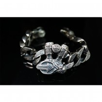 Heavy 925 Sterling Silver V Twin Engine Bracelet SB20