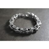 Heavy Black Silver Gothic Rock Bracelet TB241
