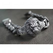 Heavy Silver Lion Bracelet TB242