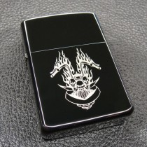 Skull Fire Flame Motor Windproof Lighter LG2050