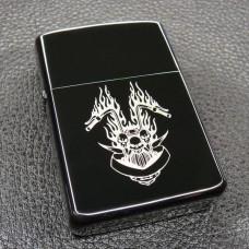 Skull Fire Flame Motor Windproof Lighter LG2050