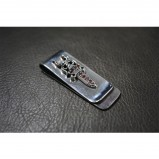 925 Sterling Silver Sword Money Clip with Red CZ SC48