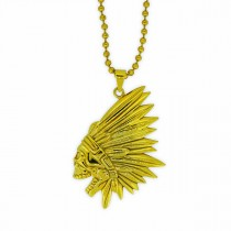 Gold Skull Pendant with Ball Necklace / Chain  TN87
