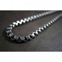 Dark Silver Box Rolo Necklace TN73