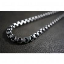 Dark Silver Box Rolo Necklace TN73