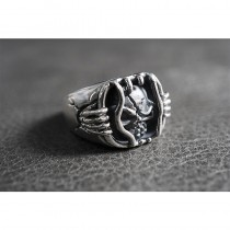 925 Sterling Silver Jail Breaker Skull Ring SR44
