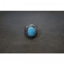 Natural Oval Blue Turquoise Silver Ring TR254