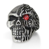 Skull With Red CZ Eye Ring TR62