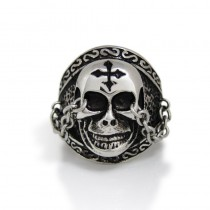 Skull Cross Ring with Chain TR173