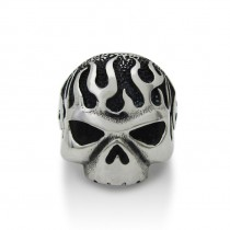 Fire Flame Skull Ring TR66