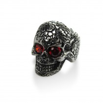 Gothic Skull With Red CZ Eye Ring TR58
