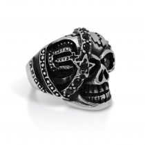 Skull Ring with Black Crystal TR74