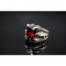 925 Sterling Silver Dragon Claw Ring with Red Crystal SR04