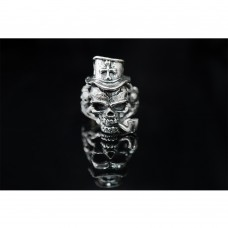 925 Sterling Silver Cross Skull with Smoking Pipe Ring SR36