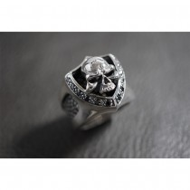 925 Sterling Silver Skull Ring with Stingray Leather & Black CZ SR50