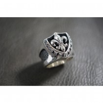 925 Sterling Silver Fleur-De-Lis Ring with Stingray Leather & Black CZ SR51