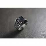 Black Radiant Crystal Silver Ring Ring TR151