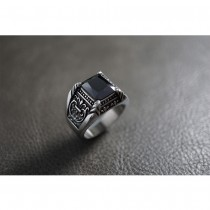 Black Radiant Crystal Silver Ring Ring TR151
