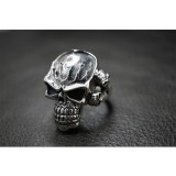 925 Sterling Silver Fire Flame V-Twin Skull Ring SR34