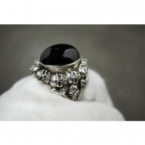 925 Sterling Silver Skull Ring with GENUINE OVAL BLACK AGATE SR41