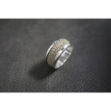 925 Sterling Silver Classic Thick Round Ring with Stingray Leather SR52