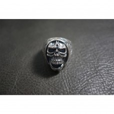 925 Sterling Silver Flame Anger Skull Round Ring SR53