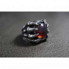 Dragon Claw Ring with Blood Red Crystal TR128