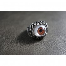 Silver Brown Eye Ball Ring TR159