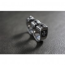 Silver Gothic Cross Two Finger Fighter Knuckle Duster Ring TR182