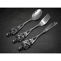Heavy Silver Skull Table Set (Fork Spoon Knife) KT15