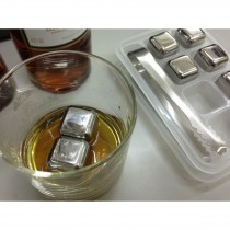 8 Pcs Stainless Steel Ice Cube Rock Stone Box Set with Tong