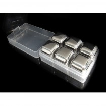 6 Pcs Stainless Steel Ice Cube Rock Stone Box Set
