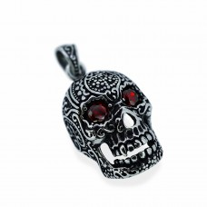 3D Silver Skull Pendant with Red Crystal TP71