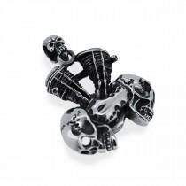 Heavy Silver Skull Engine Pendant TP66