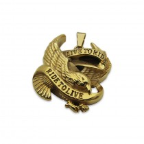 Live to Ride to Live Eagle Gold Pendant TP64