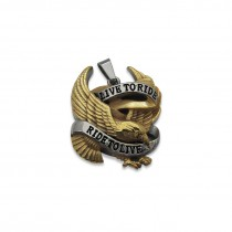 Live to Ride to Live Eagle Gold & Silver Pendant TP43