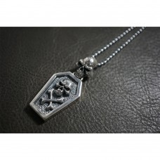 Heavy 925 Sterling Silver Skull Coffin Pendant  SP24