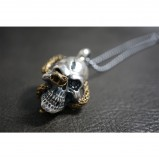 Heavy 925 Sterling Silver Black Eye Skull & Snake Pendant SP26