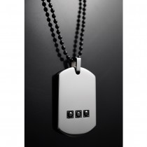 Heavy Dog Tag with Black Cubic Zirconia Pendant TP02