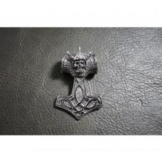 Heavy Silver Viking Norse Thor Hammer Skull Pendant TP120